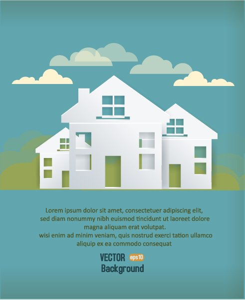 3d Vector Graphic 3d Abstract Vector Illustration  Buildings  Clouds 1