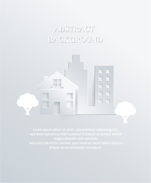 3d Vector: 3d Abstract Vector Illustration With Buildings And Clouds 1