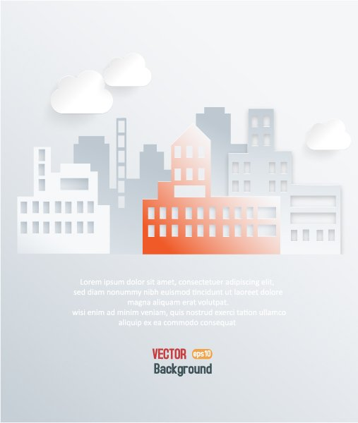 Illustration Vector: 3d Abstract Vector Illustration With Buildings And Clouds 1