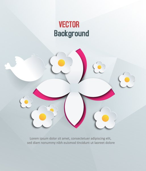 Trendy 3d Vector Design: 3d Abstract Vector Design Illustration With Abstract Sticker Flowers 1