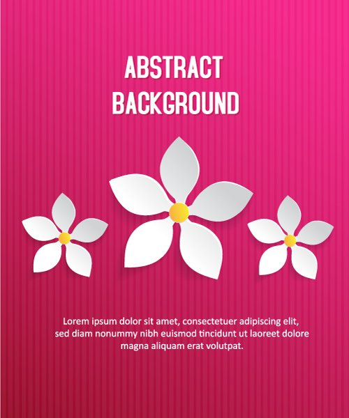 Bold Element Vector Art: 3d Abstract Vector Art Illustration With Abstract Sticker Flowers 1