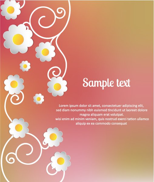 Stylish, Flowers Vector Background 3d Abstract Vector Illustration  Abstract Sticker Flowers 1