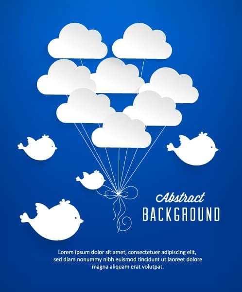 Clouds Vector: 3d Abstract Vector Illustration With Clouds And Birds 1