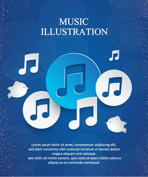 Exciting Notes Vector Image: 3d Abstract Vector Image Illustration With Musical Notes 1