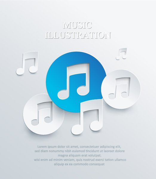Musical Vector Art: 3d Abstract Vector Art Illustration With Musical Notes 1