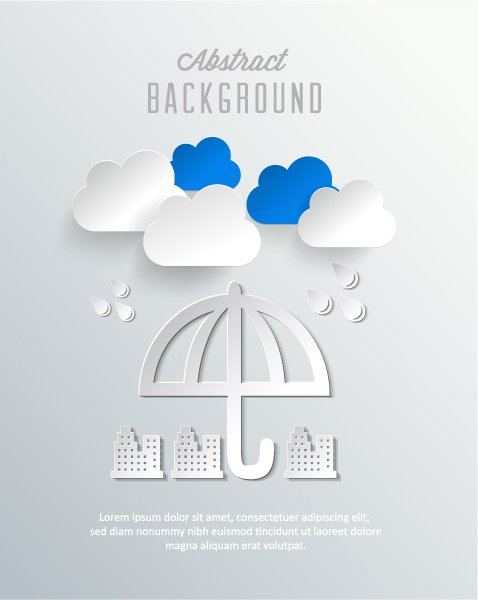 Best Buildings, Vector Image: 3d Abstract Vector Image Illustration With Abstract Buildings, Clouds And Umbrella 1