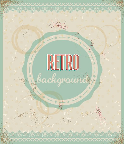 Download Floral Vector Art: Retro Vector Art Floral Background With Retro Badge 1