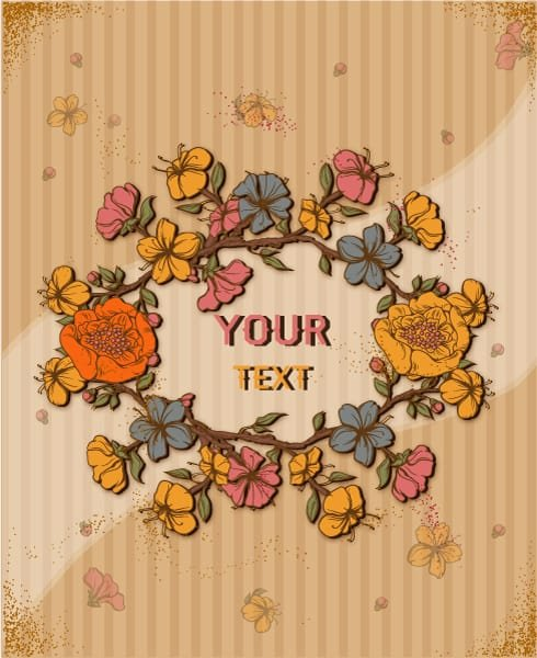 Floral, Flowers, Rusty Vector Retro Vector Floral Background  Spring Flowers Frame 1
