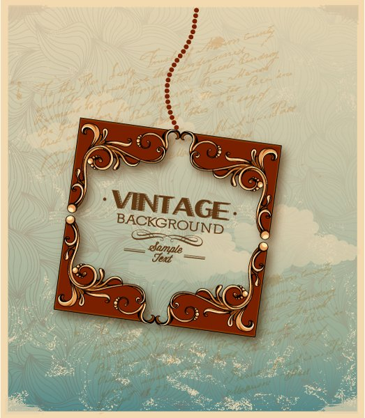Vintage, Illustration, Floral Vector Image Vintage Vector Illustration  Floral Frame  Spring Flowers 1