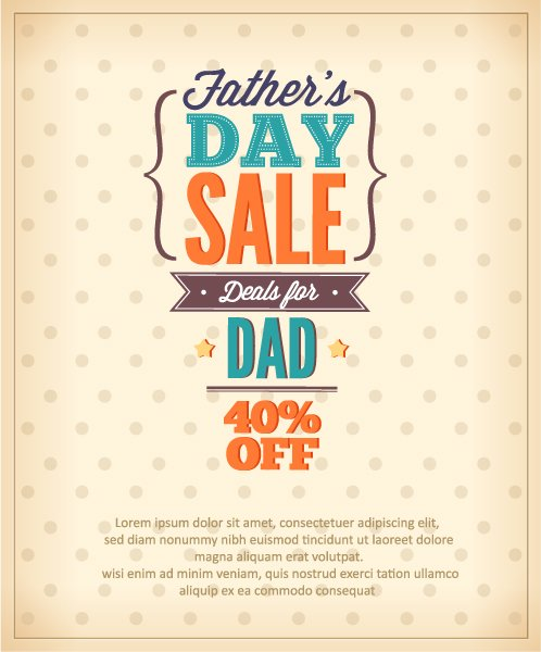 Insane Drawings Vector: Fathers Day Vector Illustration With Vintage Retro Type Font 1