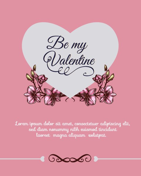 """valentines"", Vector, Day Vector Design Happy  Valentines Day Vector Illustration  Heart  Flowers 1"