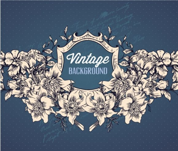 Flowers, Frame Vector Background Vintage Vector Illustration  Spring Flowers  Frame 1