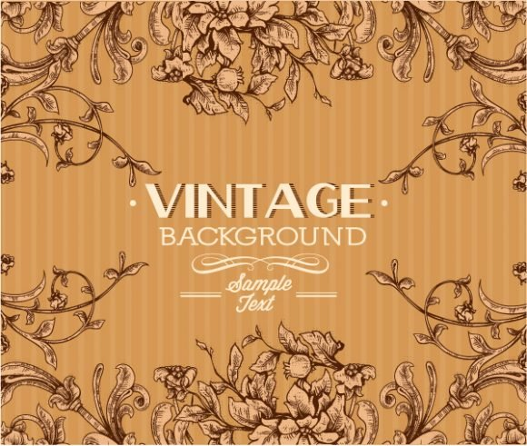 New Vintage Vector Illustration: Vintage Vector Illustration Illustration With Floral Elements 1