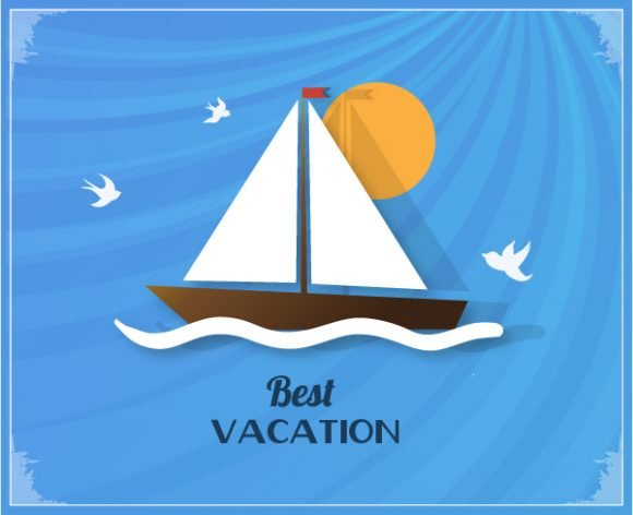Summer, Illustration, Vector Vector Background Summer Vector  Illustration  Sailing Ship 1