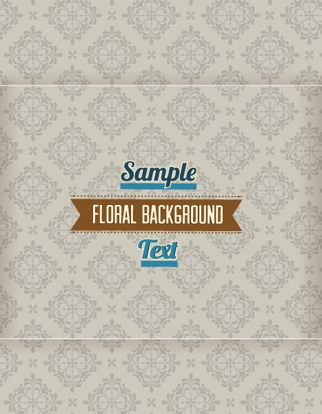 Buy Retro Vector: Floral Background Vector Illustration With Retro Ribbon 1