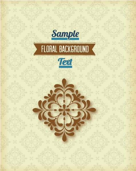 New Illustration Vector Image: Floral Background Vector Image Illustration With Retro Ribbon 1