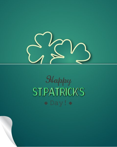 Striking Retro Vector Background: St. Patricks Day Vector Background Illustration With Sticker Clover 1