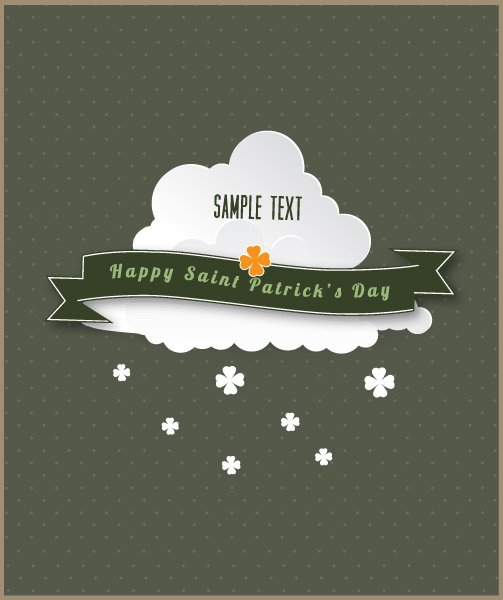 Buy Ribbon Vector Image: St. Patricks Day Vector Image Illustration With Clouds And Ribbon 1