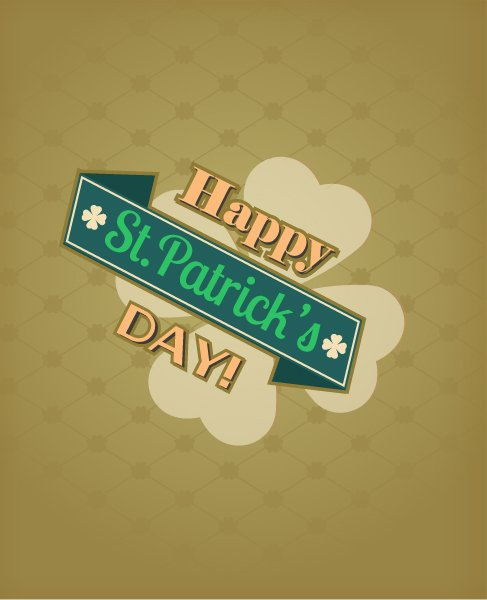 Insane St. Vector Graphic: St. Patricks Day Vector Graphic Illustration With Ribbon And Clover 1