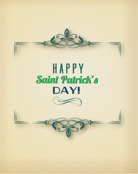 Awesome Floral Vector Background: St. Patricks Day Vector Background Illustration With Floral Frame 1