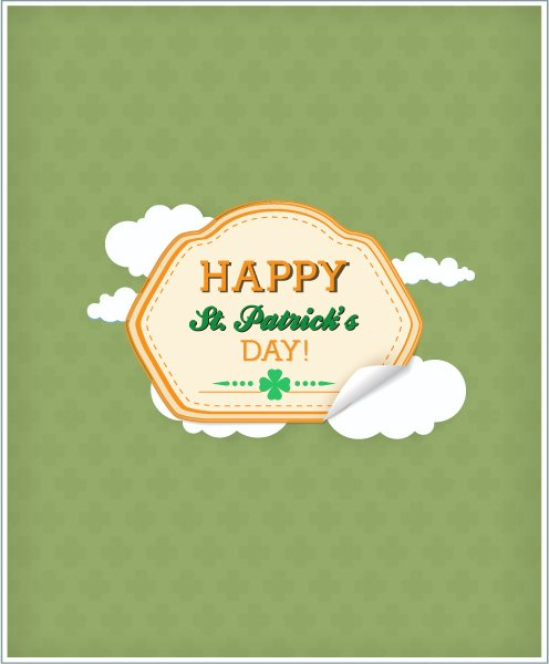 St. Vector Image St. Patricks Day Vector Illustration   Sticker Badge  Clouds 1