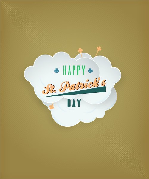 Astounding Saint Vector Art: St. Patricks Day Vector Art Illustration With Clouds 1