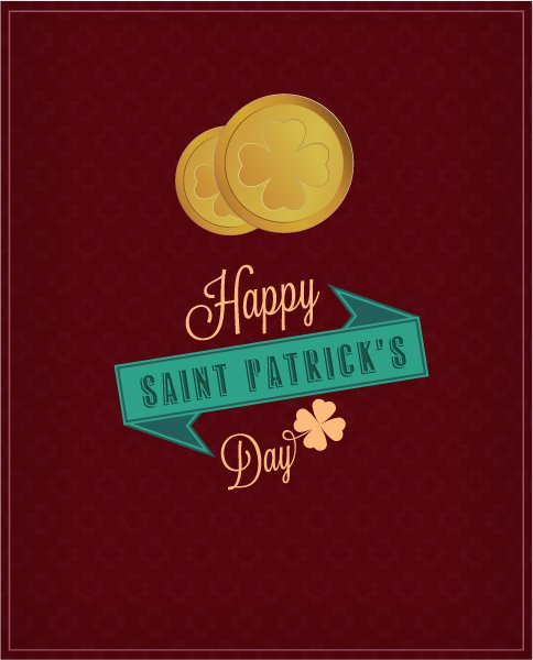 """patricks"", Illustration Vector Illustration St. Patricks Day Vector Illustration  Coins  Ribbon 1"