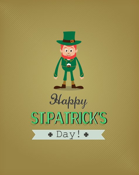 Awesome Patricks Vector Design: St. Patricks Day Vector Design Illustration With Leprechaun 1