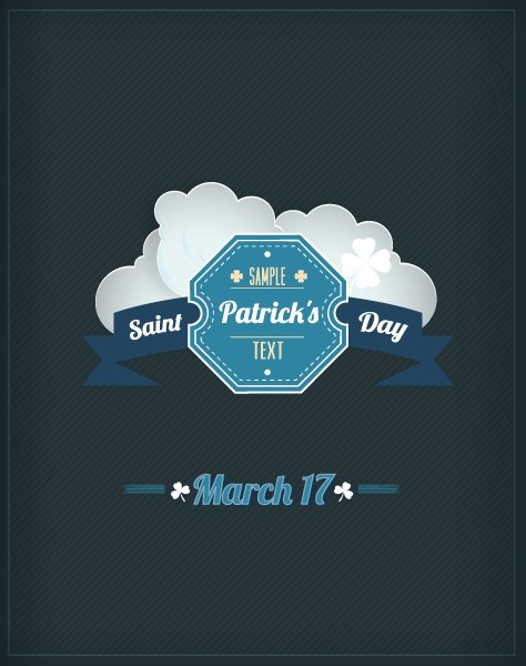 Day, Illustration, Flyer, Badge, New Vector Artwork St. Patricks Day Vector Illustration  Badge  Clouds 1
