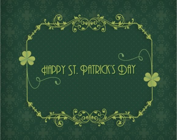 Exciting Creative Vector Graphic: St. Patricks Day Vector Graphic Illustration With Clover And Floral Frame 1