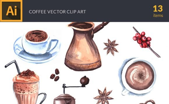 Watercolor Coffee Vector Clipart 1