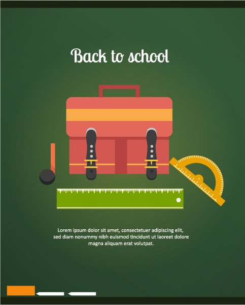 Ruler, School, Back Vector Artwork Back To School Vector Illustration  School Bag, Ruler  Chalk 1