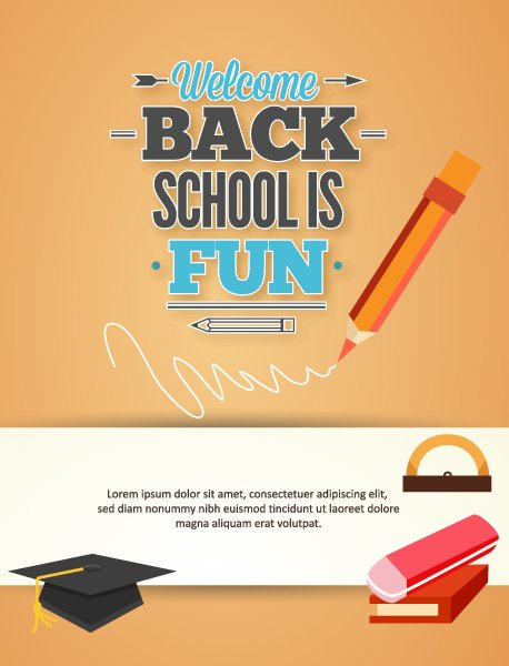 Striking To Eps Vector: Back To School Eps Vector Illustration With Graduation Hat 1