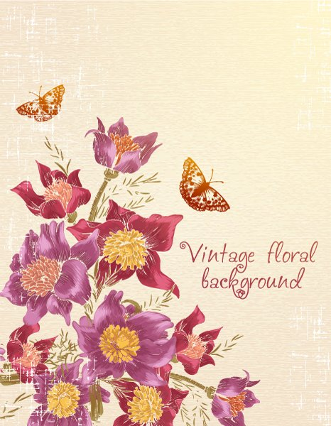 Awesome Flower Vector: Floral Vector Background With Butterflie 1