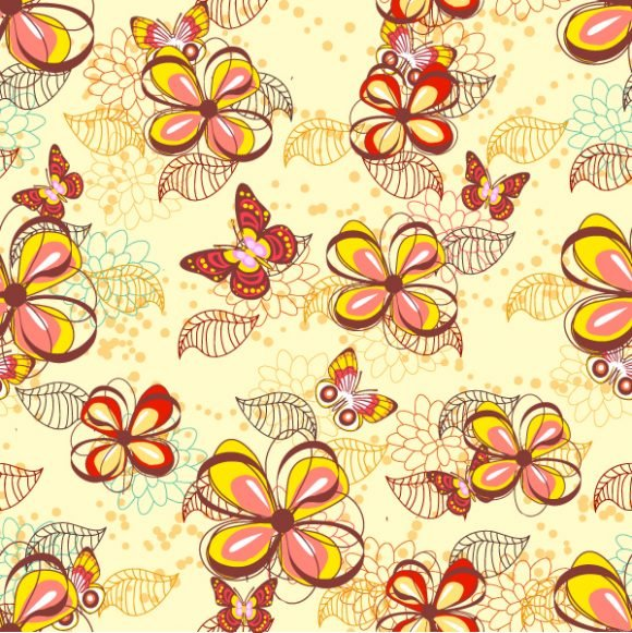 Exciting Seamless Vector: Vector Seamless Floral Background With Butterflies 1