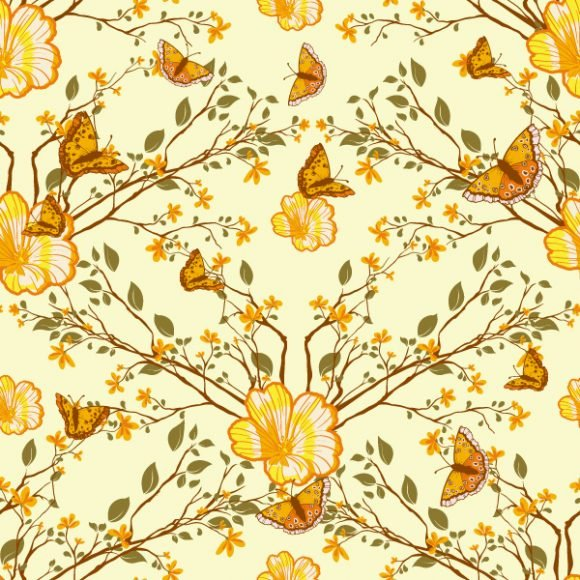 vector seamless floral background with butterflies 1