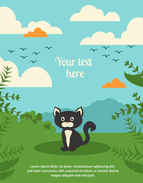 Urban Vector Vector Background Illustration  Cat,leaves,  Clouds 1