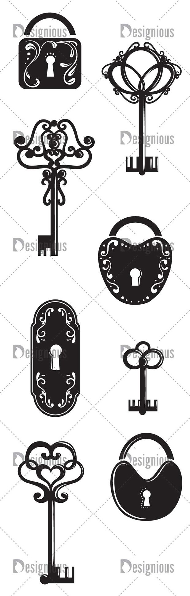 Vector Keys Locks Pack 1 2
