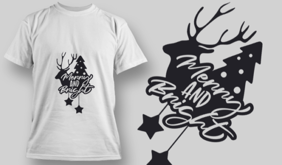 2274 Merry And Bright 4 T-Shirt Design 1
