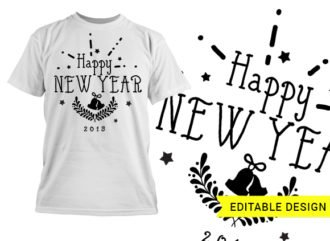 Happy new year editable design template