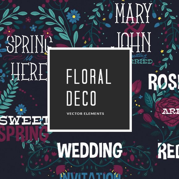 Floral Decorations with Typography | Vector Pack