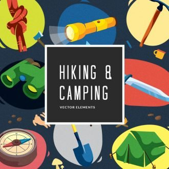 Colorful Hiking & Camping Symbols | Vector Pack