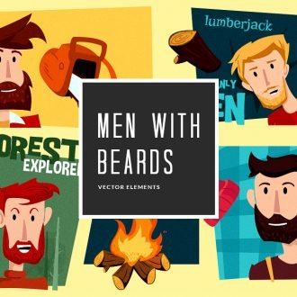 Illustrated Men Beards Vector Pack