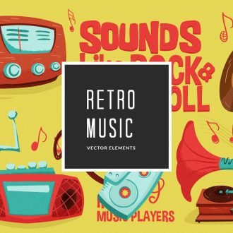 Illustrated Retro Music Vector Pack