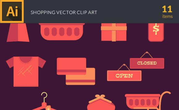 Flat Colorful Shopping Symbols Vector Pack