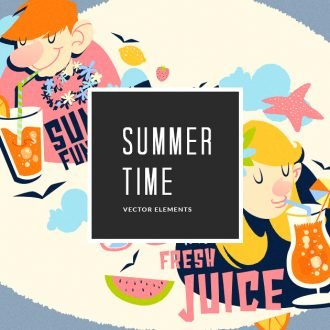 Illustrated Summer Compositions Vector Pack