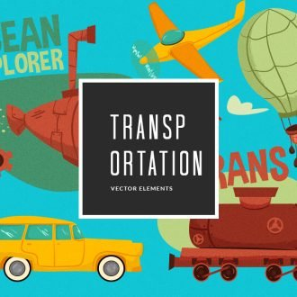 Illustrated Transportation Symbols Vector Pack