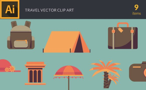 Illustrated Travel Symbols Vector Pack