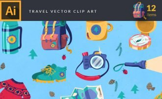 Colorful Traveling Symbols Vector Pack