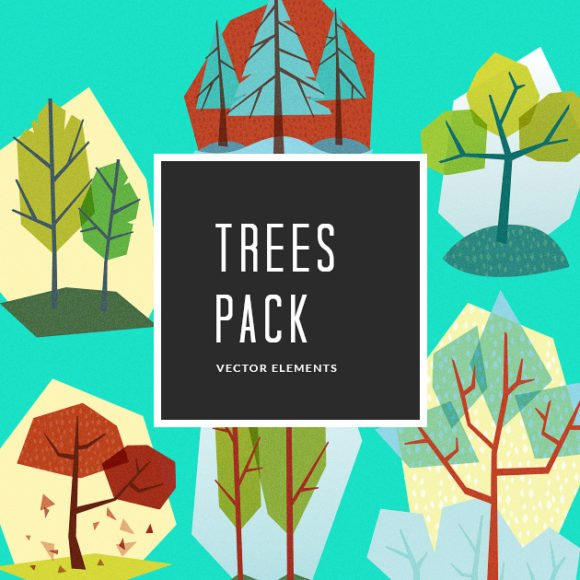Illustrated Trees Vector Pack